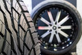 Wheel tyre high performance and rims for motorsports Stock Images
