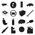 Wheel, wrench, jack and other equipment. Car set collection icons in black style vector symbol stock illustration web.