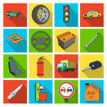 Wheel, wrench, jack and other equipment. Car set collection icons in flat style vector symbol stock illustration web.