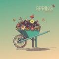 Wheelbarrow With Flowers in Retro Style. Spring Breathe