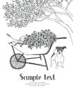Wheelbarrow garden and dog in design card hand drawing card Stock Photography