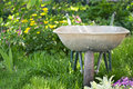 Wheelbarrow in the garden to work on a background of green plants Stock Image