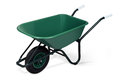 Wheelbarrow green empty against a white background Stock Photography
