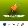 Wheelbarrow icon in different style
