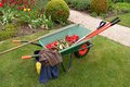 Wheelbarrow & implements Stock Photo