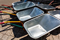Wheelbarrow parking lot Royalty Free Stock Photo