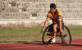 Wheelchair athletes a branch from practicing in the stadium sriwedari solo friday in the beginning of the month of fasting a Royalty Free Stock Photo