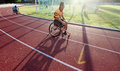 Wheelchair athletes a branch from practicing in the stadium sriwedari solo friday in the beginning of the month of fasting a Royalty Free Stock Photography