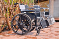 Wheelchair a is a chair with wheels used for the patient or the cripple or the elderly Stock Photo