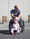 Wheelchair Dad and Daughter Royalty Free Stock Photo