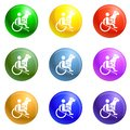 Wheelchair man dog guide icons set vector