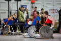 Wheelchair rugby breda netherlands – october dutch physically disabled athletes playing during the paragames a big bi yearly Royalty Free Stock Images