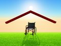Wheelchair under a home roof Royalty Free Stock Image