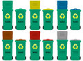 Wheeled bins illustration of in six colors Stock Photos