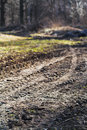 Wheeled tractor tracks in dirt country road spring Stock Photos