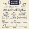 Wheeled vehicles icons transport outline set Royalty Free Stock Images