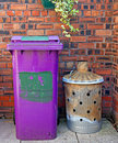 Wheelie bin and garden incinerator Stock Photography
