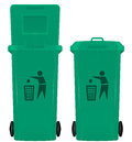 Wheelie bin illustration of closed and open Stock Images