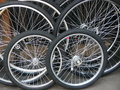 Wheels of a bicycle Royalty Free Stock Image