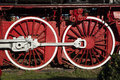 Wheels detail big red from old abandonated locomotive from museum of locomotive from resita romania Stock Photography