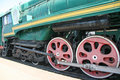 Wheels locomotive red in moscow Royalty Free Stock Photo