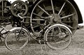 Wheels of a steam engine an vintage bicycle Royalty Free Stock Photo