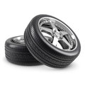 Wheels and tires on white background Royalty Free Stock Photos