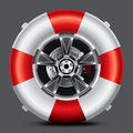 Whell set lifebuoy shaped wheel on a black background drawing Stock Image