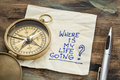 Where is my life going an essential question or searching for purpose a napkin doodle with a brass compass Stock Photography