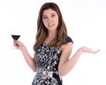 Where s the party young woman holding glass on wine with her hands spread wide in expectation Royalty Free Stock Image