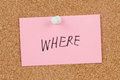 Where word written on paper and pinned on cork board Stock Photos