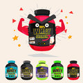 Whey protein showing muscle arm. strong and power concept. set o