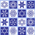 Whight and blue pattern seamless snowflake ornaments florals decoration textured Stock Images