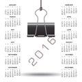 Whimsical binder clip 2016 calendar