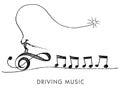 A whimsical cartoon called Driving Music