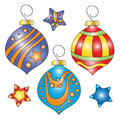 Whimsical colorful bauble and star collection Royalty Free Stock Photo