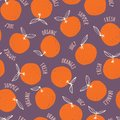 Whimsical colorful hand-drawn doodle oranges and words vector seamless pattern on dark background. Summer Fruits