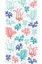 Whimsical Cute Hand-Drawn Sea Life, Corals, Seaweed, Algae Vector Seamless Vertical Border. Bright Ocean Background