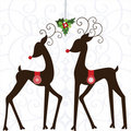 Whimsical Deer with Mistletoe Stock Photo