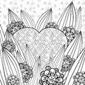 Whimsical garden adult coloring page. Royalty Free Stock Photo