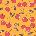 Whimsical hand-drawn doodle cherries vector seamless pattern background. Colorful Summer Fruits Royalty Free Stock Photo