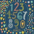 Whimsical hand drawn numbers from one to zero hand drawn numbers vector sketch illustration isolated on white background Stock Images