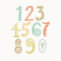 Whimsical hand drawn numbers from one to zero hand drawn numbers vector sketch illustration isolated on white background Royalty Free Stock Photos
