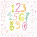 Whimsical hand drawn numbers from one to zero hand drawn numbers vector sketch illustration isolated on white background Stock Image