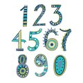 Whimsical hand drawn numbers from one to zero hand drawn numbers vector sketch illustration isolated on white background Stock Photos