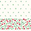 Whimsical hand-drawn red cherries vector seamless horizontal border pattern background. Colorful Summer Fruits Royalty Free Stock Photo