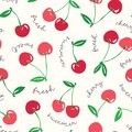 Whimsical hand-drawn red cherries and words vector seamless pattern background. Colorful Summer Fruits. Typography Royalty Free Stock Photo