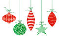 Whimsical hanging christmas ornaments five cute retro by green string Stock Images