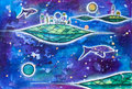 Whimsical houses in cosmos with planets and fishes.