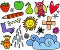 Whimsical Icon Set Royalty Free Stock Photo